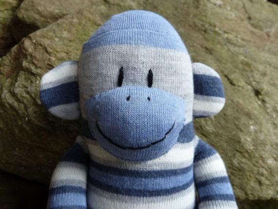 sock monkey doll, sock monkey, blue sock monkey, sock monkey for boys, unique sock monkey, handmade sock monkey doll