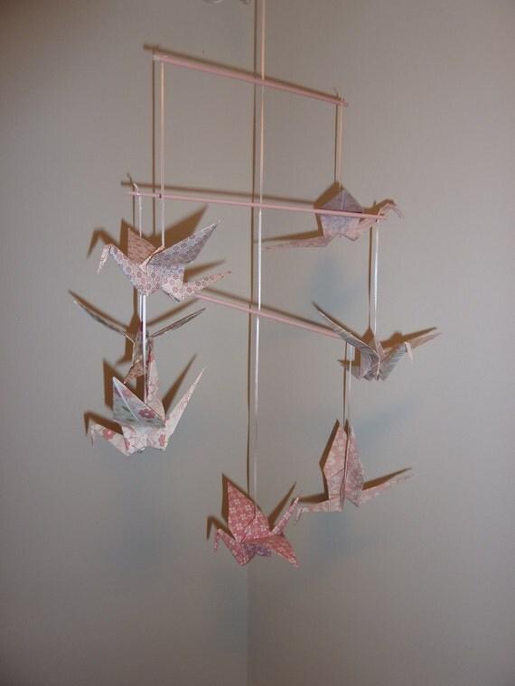 baby mobile, origami cranes, custom mobile, crib mobile, bird mobile, unique baby mobile, modern baby mobile, nursery room decor,