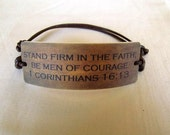 Men's Faux Leather Background 1 Corinthians 16:13 Scripture Bracelet