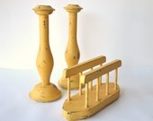 Distressed Mustard Candlestick & Napkin Holder/ Mail Sorter Set - Table Setting Shabby Chic Yellow Kitchen- SALE