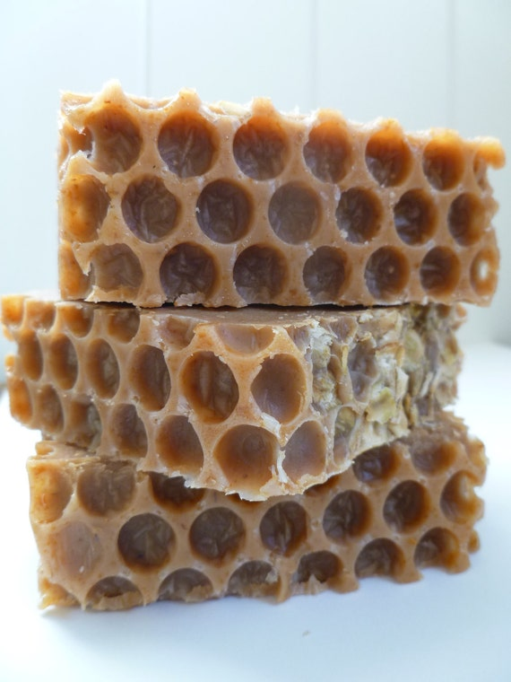 Oatmeal Honey All Natural  Cold Process Soap with Ground Oats