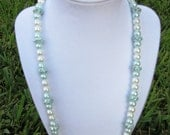 Light Blue & White Glass Pearl  and Swarovski Rhinestone Necklace with Matching Earrings and Bracelet
