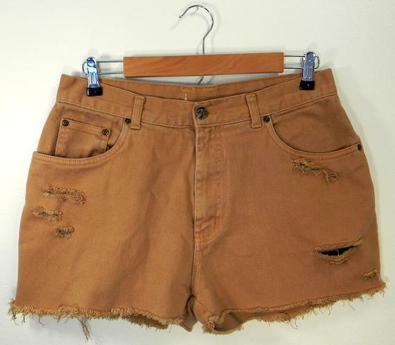 Distressed Tan Denim High-Waist Cut Off Shorts Size 10/12
