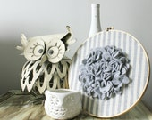 SALE Farmhouse Chic Blue and White Stripe Embroidery Hoop with Large Gray Felt Flower