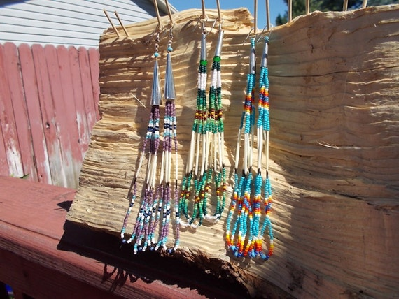 Native American Inspired Design Tribal Earrings - Porcupine Quills and Glass Seed Beads