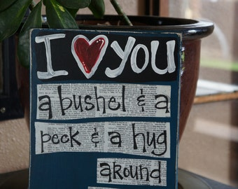 I love you a Bushel and a peck handmade mothers day wood card