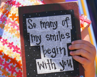 So many of my smiles begin with you handmade card