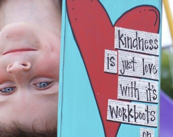 kindness is love with its workboots handmade thank you card
