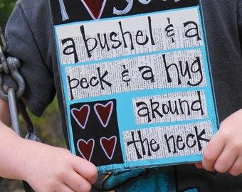 I love you a bushel and a peck handmade card