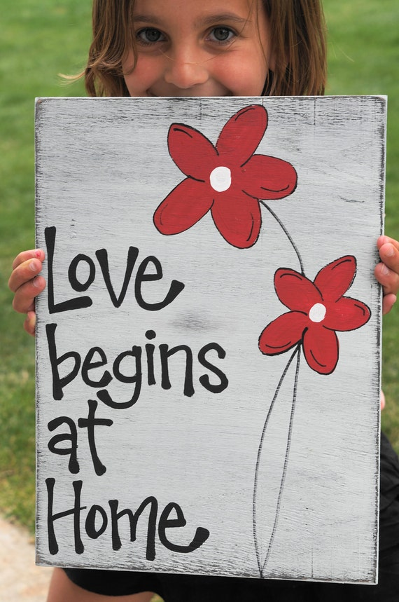 Love Begins at Home wood sign one reclaimed wood
