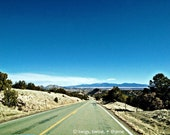 5x7 photograph: Desert Drive - New Mexico Turquoise Trail Highway 14. mountains, sky, sunshine, nature, rustic, spring, travel, wanderlust
