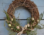 Simple Spring Grapevine Wreath - fern, poppy, eucalyptus, seed pods, burlap ribbon. Rustic, spring, natural, organic, cabin, cottage