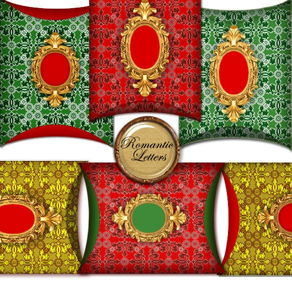 Christmas Digital Pillow Boxes printable Christmas gift wrapping box digital printable Christmas gift box red green Gift Packaging craft box