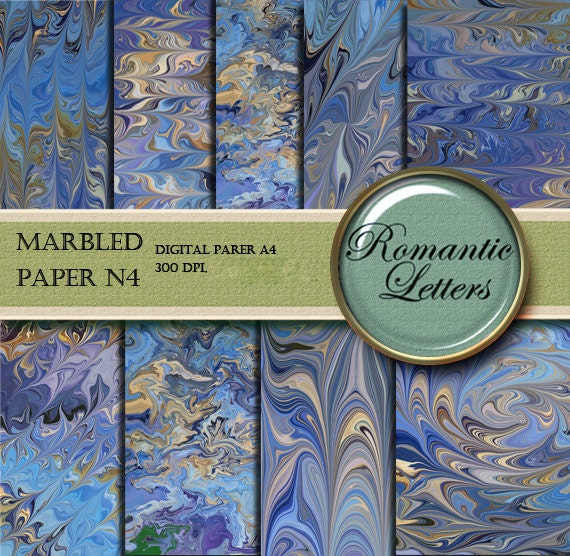 Marbled digital paper pack printable scrapbook background A4 invitation card making paper printable marbled paper origami marbled paper