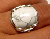 Wire Wrapped White Turquoise Ring (size 5 ,6, 7, 8)