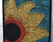 "Original Mosaic, framed Mardi Gras bead art ""Sunflower"" gold, blue, New Orleans, collage, decor, bead mosaic, Mardi Gras, beads,"