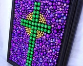 Framed Art,  Mardi Gras bead, mosaic, cross, purple, green, gold, inspirational art, faith, Easter, Christian, bible, collage, colorful,