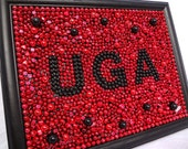 Custom Order - Framed Mardi Gras bead mosaic, UGA, red, black, SEC, college dorm, Georgia, bulldogs, graduation, Father's Day