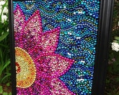 Original wall art Spring flower, Custom Order, pink,  yellow, blue, girls, whimsical Mardi Gras bead  mosaic, collage
