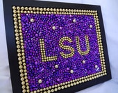Framed Mardi Gras bead mosaic, Custom Order,  LSU, purple, gold, tiger fan, graduation gift, Christmas, football, baseball, Father's Day