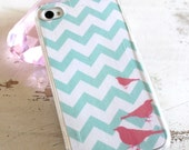 beachy teal chevron with pink birds iphone 4 4s 5 5s 5c 6 case