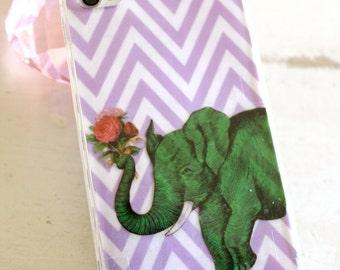 elephant on purple chevron iphone 4 4s 5 5s 5c 6 case