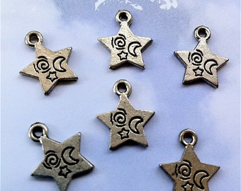 Star Charms with designs -6 pieces-(Antique Pewter Silver Finish)--style 612--Free combined shipping