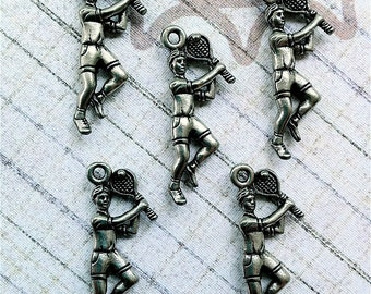 Male Tennis Player Charms -5 pieces-(Antique Pewter Silver Finish)--style 655--Free combined shipping