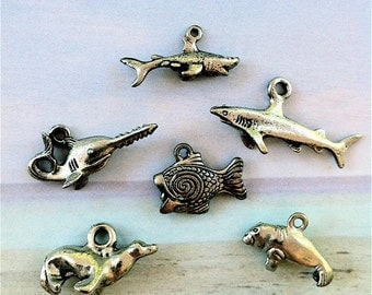 Collection of Sea Life Charms  --6 pieces-(Antique Pewter Silver Finish)--style 694--Free combined shipping