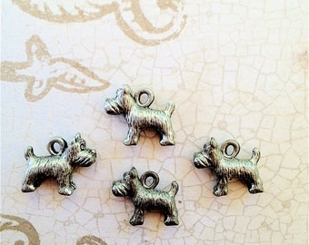 Little Doggie Charms -4 pieces-(Antique Pewter Silver Finish)--style 716--Free combined shipping