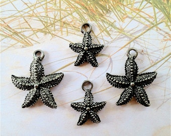 Starfish Charms -4 pieces-(Antique Pewter Silver Finish)--style 718--Free combined shipping