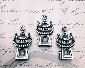 Temple Charms  ---3 pieces-(Antique Pewter Silver Finish)--style 736--Free combined shipping