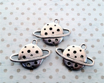 Planet Charms  ---3 pieces-(Antique Pewter Silver Finish)--style 737--Free combined shipping
