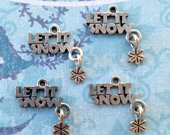 Let It Snow with Dangling Snowflake Charms ---4 pieces-(Antique Pewter Silver Finish)--style 798-Free combined shipping