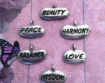 Rock Shaped Word Charms ---6 pieces-(Antique Pewter Silver Finish)--style 818-