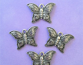 Beautiful Butterfly Charms --4 pieces-(Antique Pewter Silver Finish)--style 855-Free combined shipping