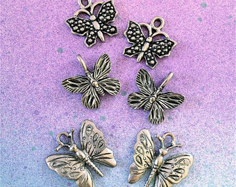 Collection of Butterfly Charms --6 pieces-(Antique Pewter Silver Finish)--style 901-Free combined shipping