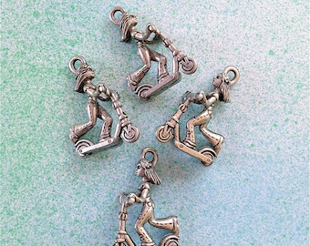 Girl Riding Scooter Charms --4 pieces-(Antique Pewter Silver Finish)--style 914-Free combined shipping
