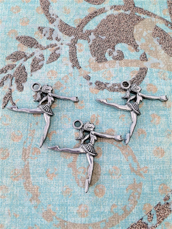 Girl Dancer Charms ---3 pieces-(Antique Pewter Silver Finish)--style 750--Free combined shipping