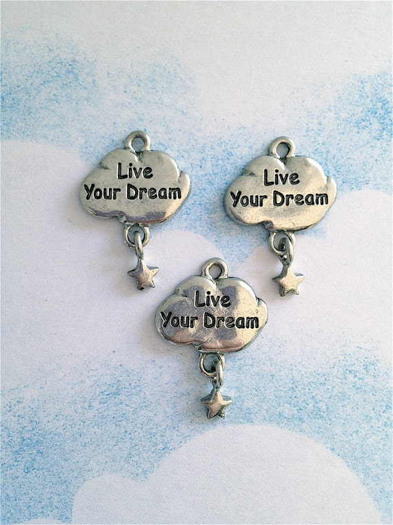 Live Your Dream Charms  --3 pieces-(Antique Pewter Silver Finish)--style 865-Free combined shipping