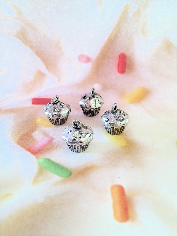 Cupcake Charms --4 pieces-(Antique Pewter Silver Finish)--style 933-Free combined shipping