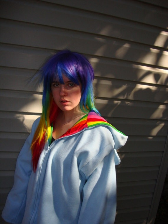 Light Blue Oversized Hoodie with Wings and Rainbow Lining