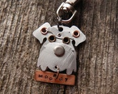 Keychain ID Key Chain Tag Schnauzer Dog Breed Dog Pet Lover Copper Aluminum Custom Rivets Stamped