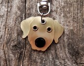 Keychain ID Key Chain Tag Golden Retriever Breed Dog Pet Lover Brass Custom Rivets Stamped