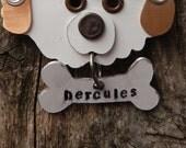 Keychain Key Chain Tag Nameplate Dog Bone Breed Dog Pet Lover Bronze Aluminum Custom Rivets Stamped