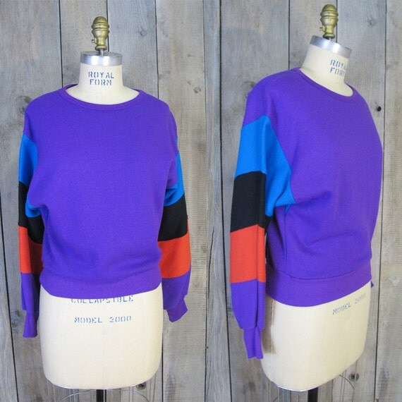 Vintage Purple Sweatshirt with Color Block Sleeves, Small