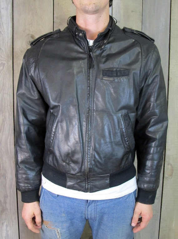 Black leather members only jacket