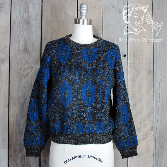 Vintage Black and Blue Aztec Sweater, Small
