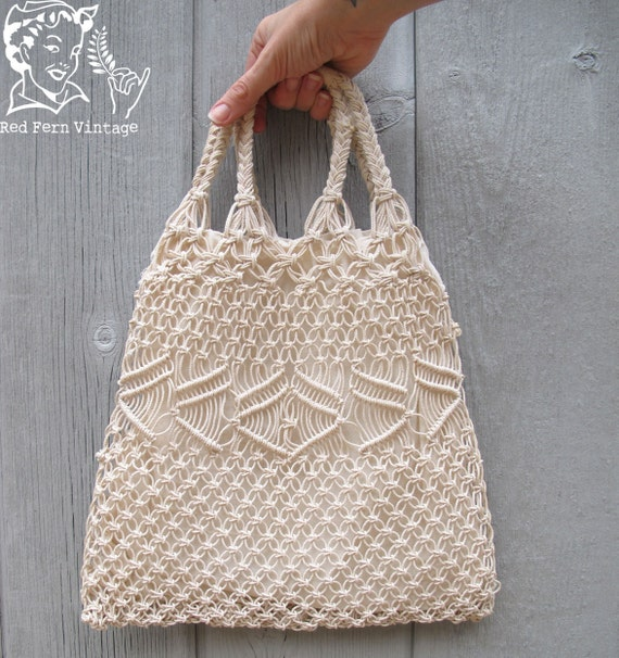 Vintage Natural Crochet Cord Tote Bag with Braided Handles