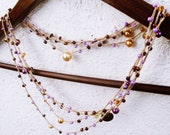 Jolie Mauve Crocheted Boho Chic Necklace  Shabby Bracelet OOAK